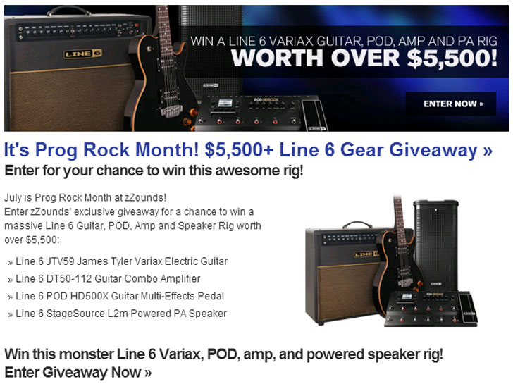 Win a Line 6 Guitar, POD, Amp and Speaker Rig Worth $5,500+!