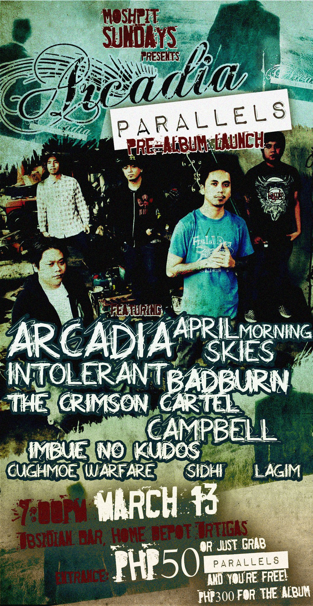 """OBSIDIAN BAR TURNS ONE! NIGHT 3: MOSHPIT SUNDAY presents ARCADIA's """"PARALLELS"""""""